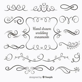 Colección adornos de boda dibujados a mano