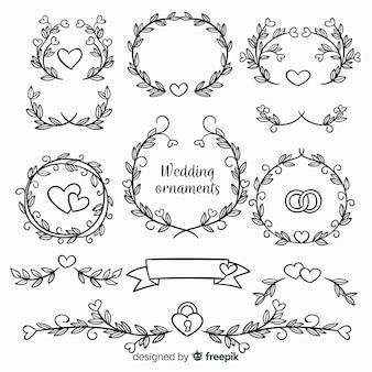 Colección de adornos de boda dibujados a mano