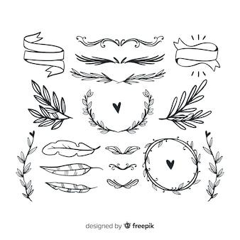 Colección de adornos de boda dibujados a mano.