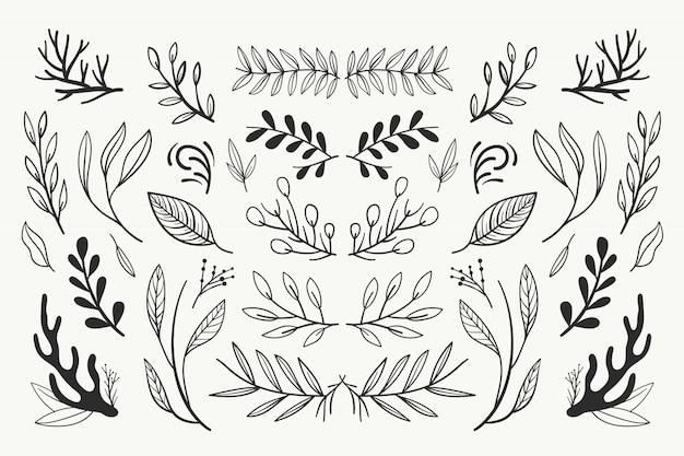 Colección de adornos de boda de dibujo a mano