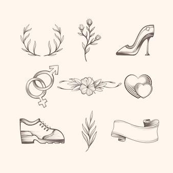 Colección de adornos de boda estilo dibujado a mano