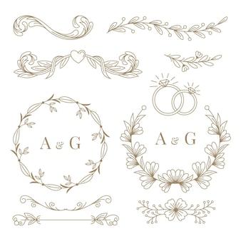 Colección de adornos de boda planos lineales