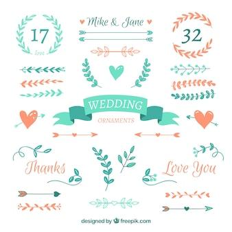 Colección de adornos de boda planos