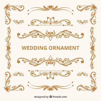 Colección de adornos de boda vintage