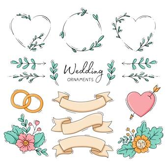 Colección de adornos de boda