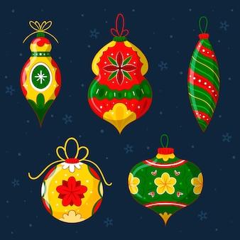 Colección adornos bolas navideñas dibujadas a mano