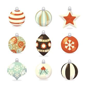 Colección de adornos de bolas navideñas dibujadas