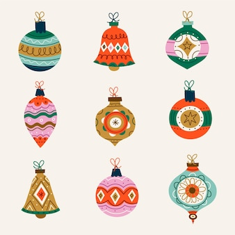Colección de adornos de bolas navideñas planas dibujadas a mano