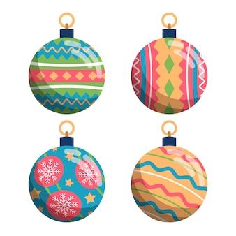 Colección de adornos de bolas navideñas planas