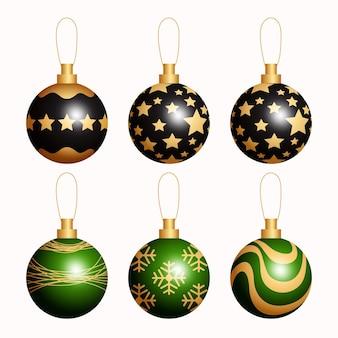 Colección de adornos de bolas navideñas realistas