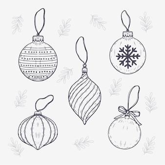 Colección de adornos de bolas navideñas vintage