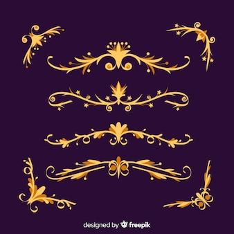 Colección de adornos de borde dorado