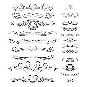 Colección de adornos caligráficos de boda