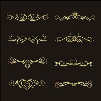 Colección de adornos caligráficos dorados de lujo