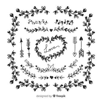 Colección de adornos cuadrados de boda dibujados a mano