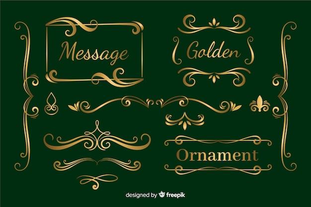 Colección de adornos dorados