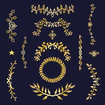 Colección de adornos elegantes dorados