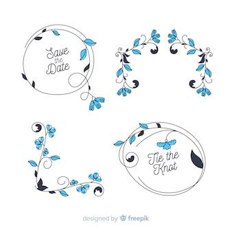 Colección de adornos florales dibujados a mano de la boda