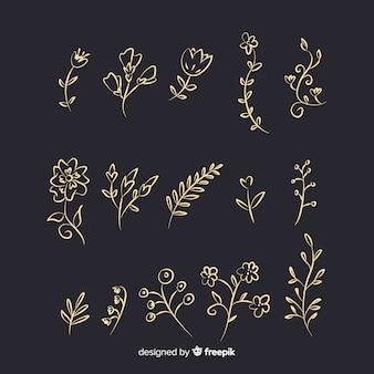 Colección de adornos florales dibujados a mano