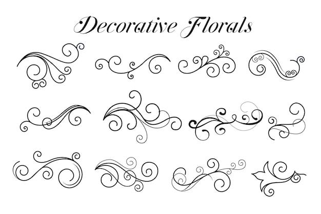 Colección de adornos florales de remolino decorativo