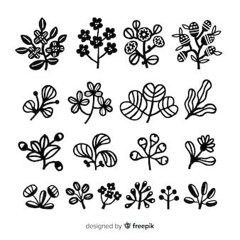 Colección de adornos de flores dibujadas a mano