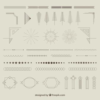 Colección de adornos geométricos