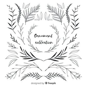 Colección de adornos de hojas estilo dibujado a mano