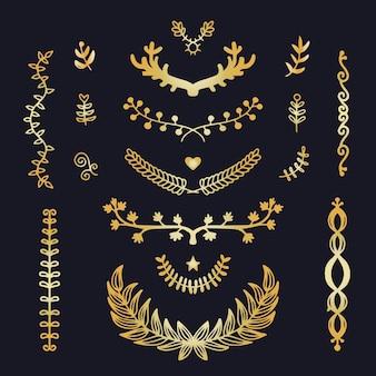 Colección de adornos de lujo dorado