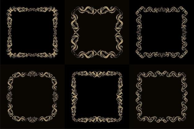 Colección de adornos de lujo o marco floral