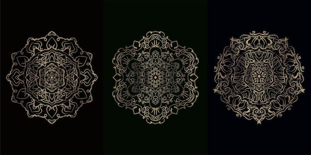 Colección de adornos o flores de mandala