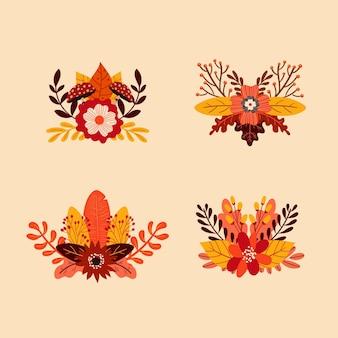 Colección de adornos otoñales dibujados a mano