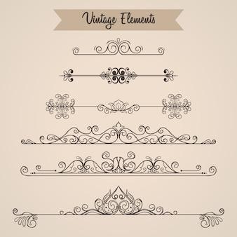 Colección de adornos de remolinos elementos de decoración para invitación