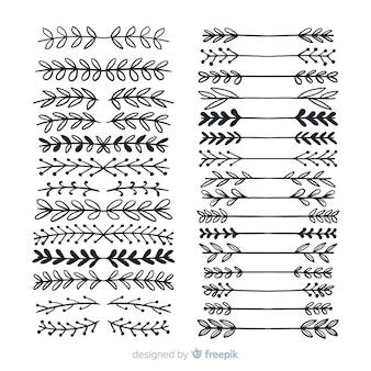 Colección de adornos separadores dibujados a mano