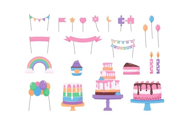 Colección de adornos para tartas de diseño plano