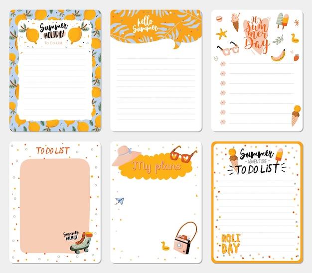Colección de agendas semanales y diarias, hoja para notas y listas de tareas con verano