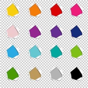 Colección de agujeros papel rasgado fondo transparente