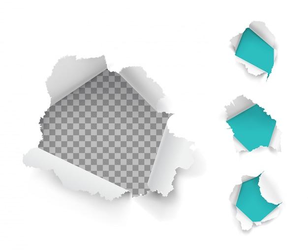 Colección de agujeros de papel