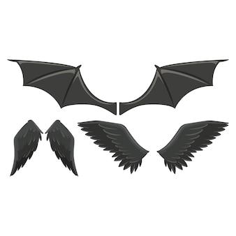 Colección de alas de animales salvajes
