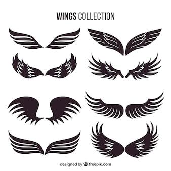 Colección de alas oscuras dibujadas a mano