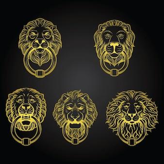 Colección de aldabas amarillas con forma de leones