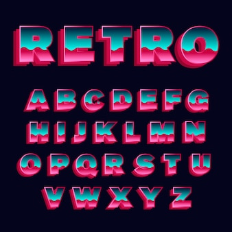 Colección de alfabeto en 3d tema retro