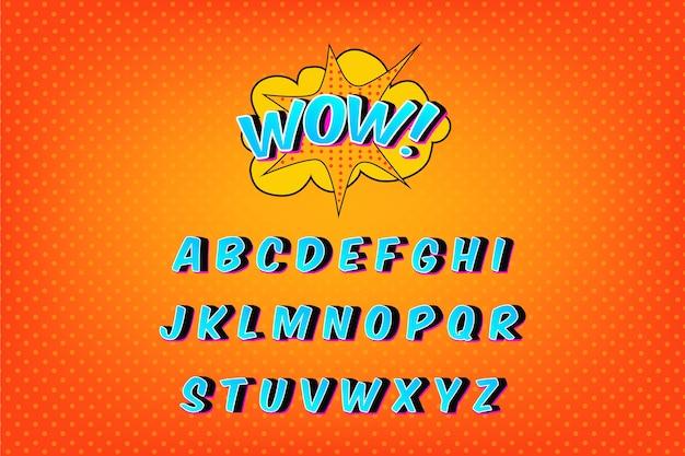Colección de alfabeto en cómic 3d