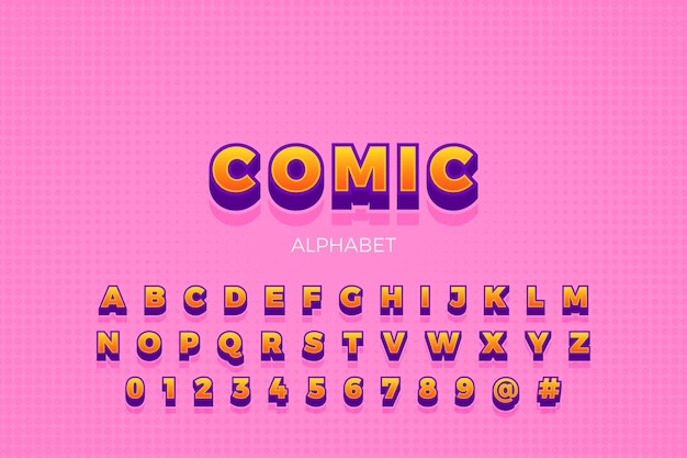 Colección de alfabeto en concepto cómico 3d