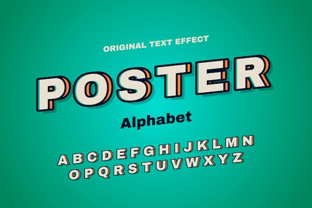 Colección de alfabeto en concepto retro 3d