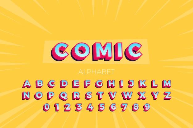 Colección de alfabeto en estilo cómic 3d