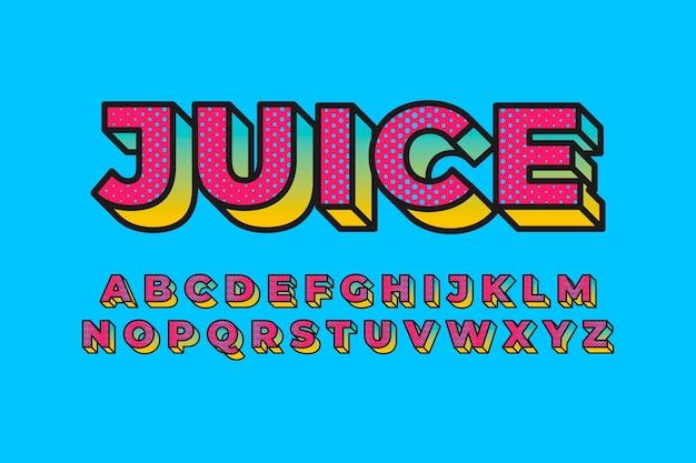 Colección de alfabeto en estilo retro 3d