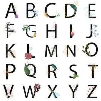 Colección de alfabeto floral