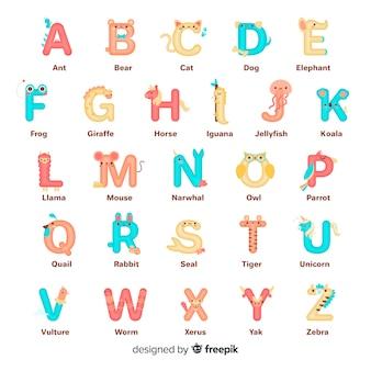 Colección de alfabeto de forma de letra animal
