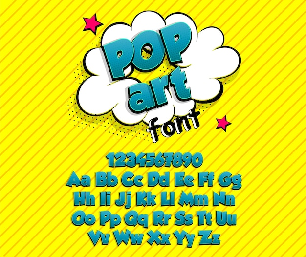 Colección de alfabeto de fuente de superhéroe de arte pop de cómic azul negrita