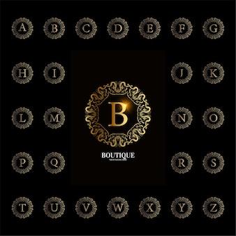 Colección alfabeto inicial con marco floral de adorno de lujo